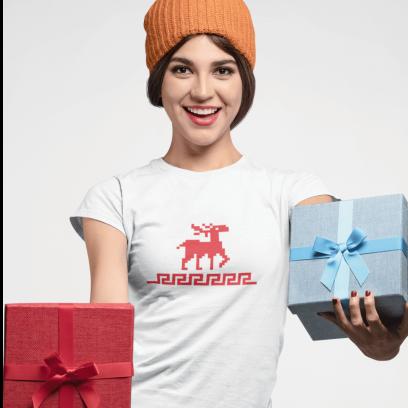 """Marškinėliai """"Kalėdinis briedžio ornamentas"""""""
